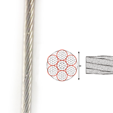 Scope RVS Kabel 7x19 haspel